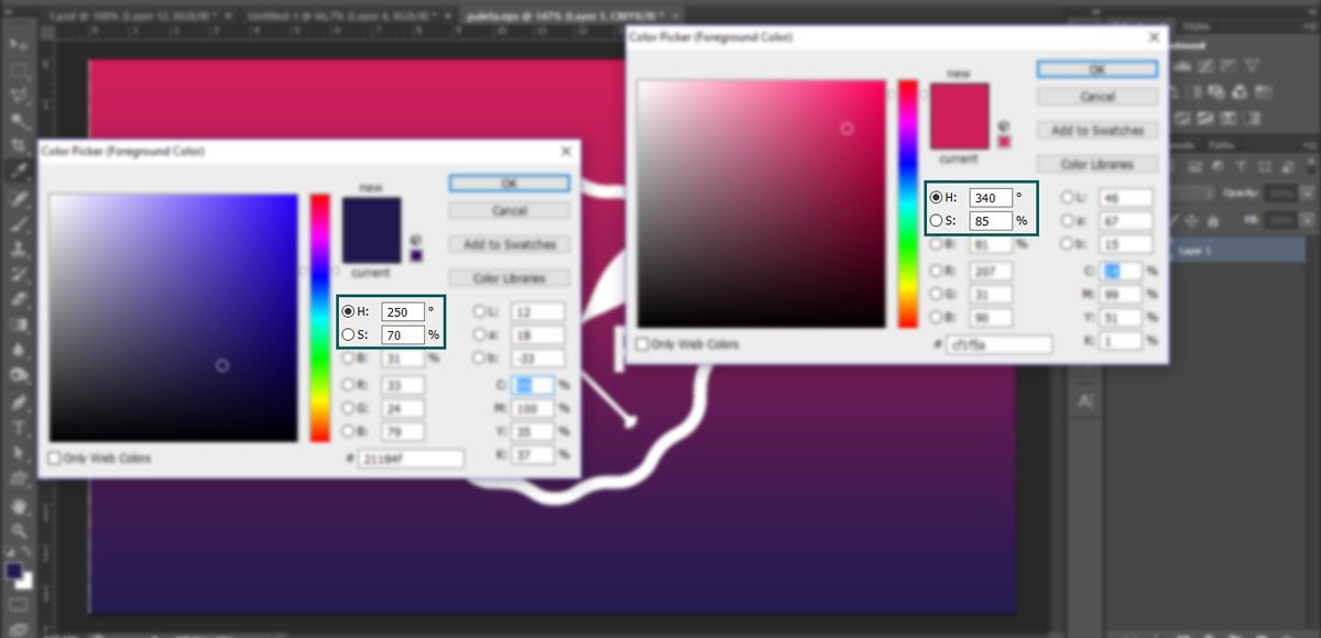 Hue & Saturation values in Photoshop