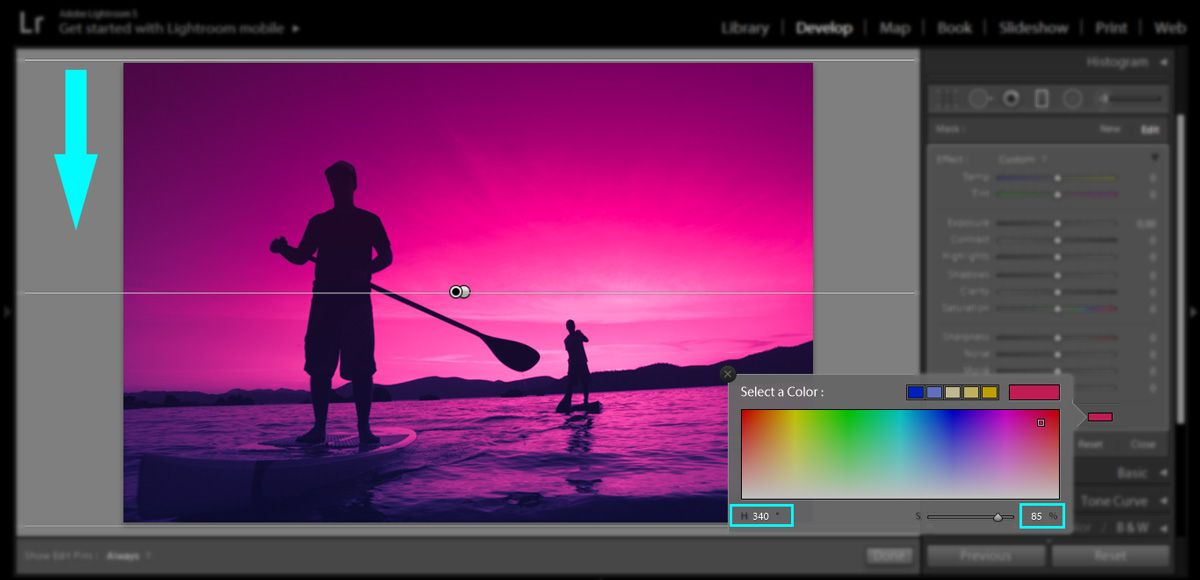 Creating a graduated filter mask in Lightroom
