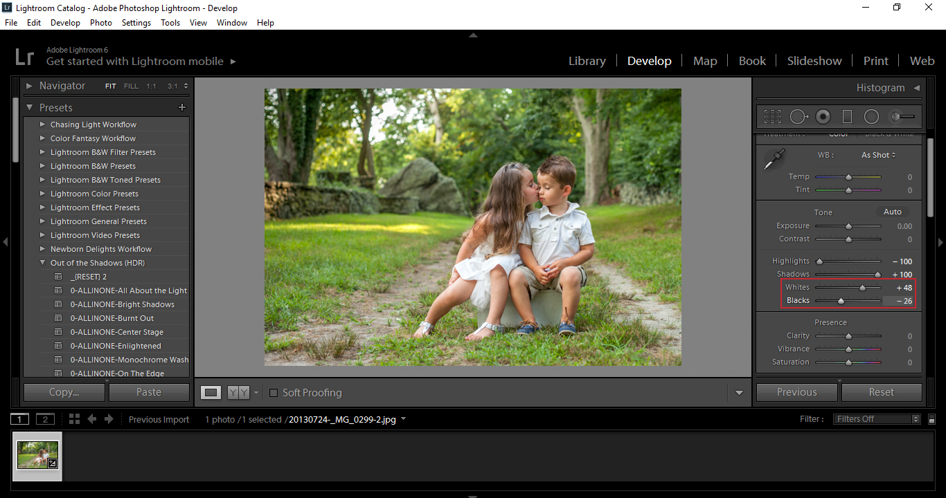 how to move black point in lightroom