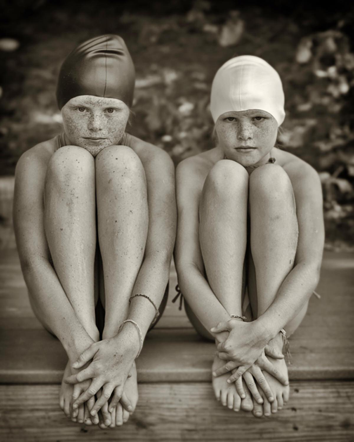 Eilidh and Iona bathing caps