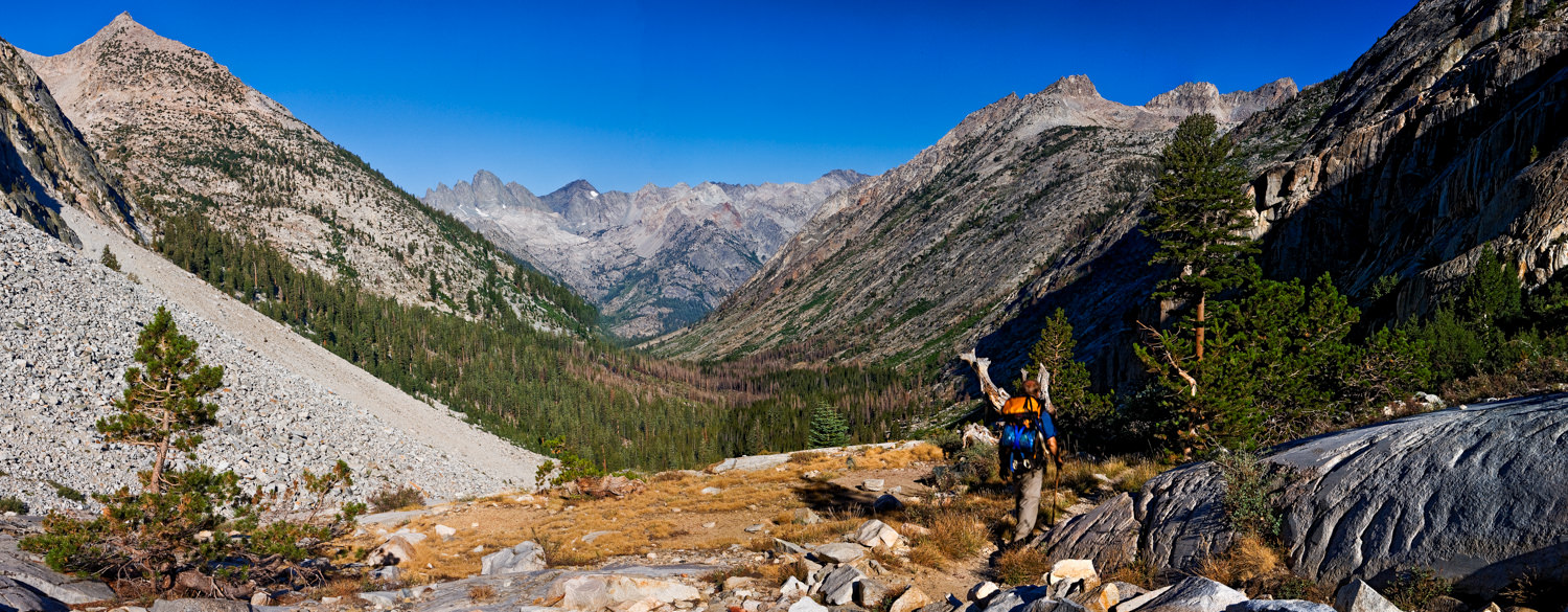 I was about to descend into LeConte Canyon on the Pacific Crest Trail when I realized I needed a really wide shot to get it all in. So I shot the several segments of this pano, going left to right. Shot several in a row of me hiking through the shot, and then one last picture for the end.