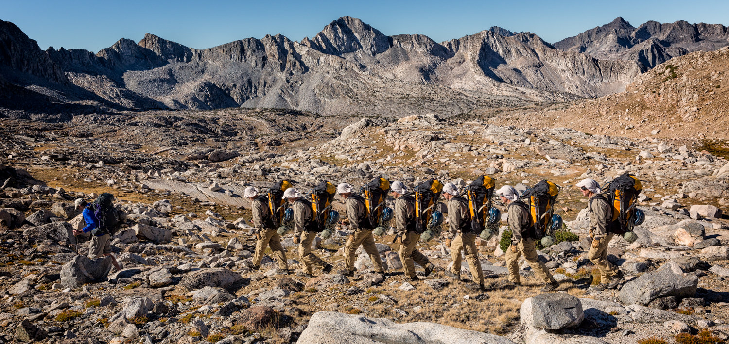 As my friend and I were cross-country hiking to Thunderbolt Pass in the Sierra Mountains, I started to feel like I was carrying a pack for 10 people. So I set up the wireless remote to pop off 10 pictures and then I combined them in Photoshop using layers and masks.
