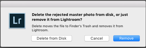 Dialogue box pops up upon deletion of a rejected image.