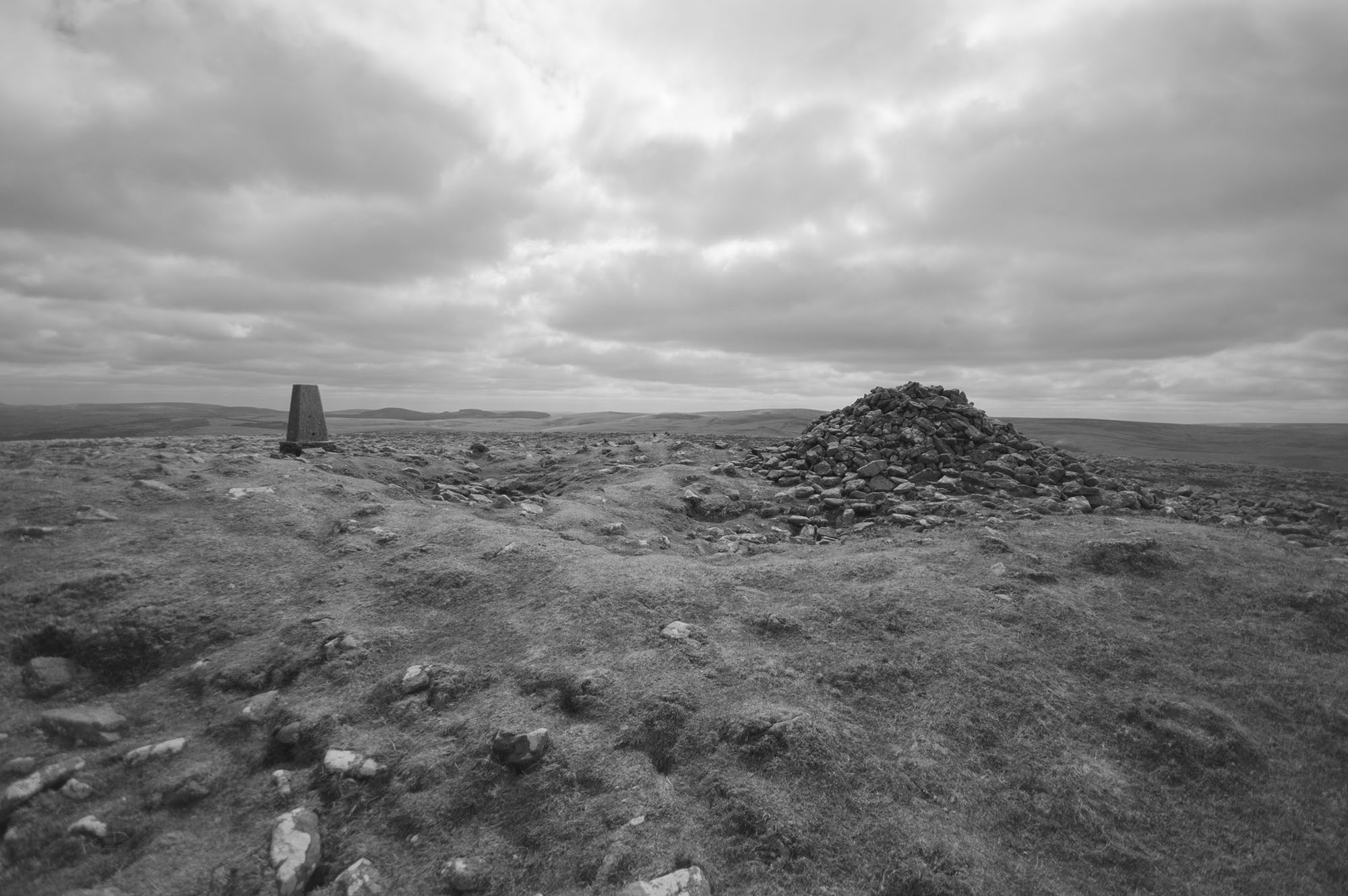 Cosdon Hill and Cairn Black and White