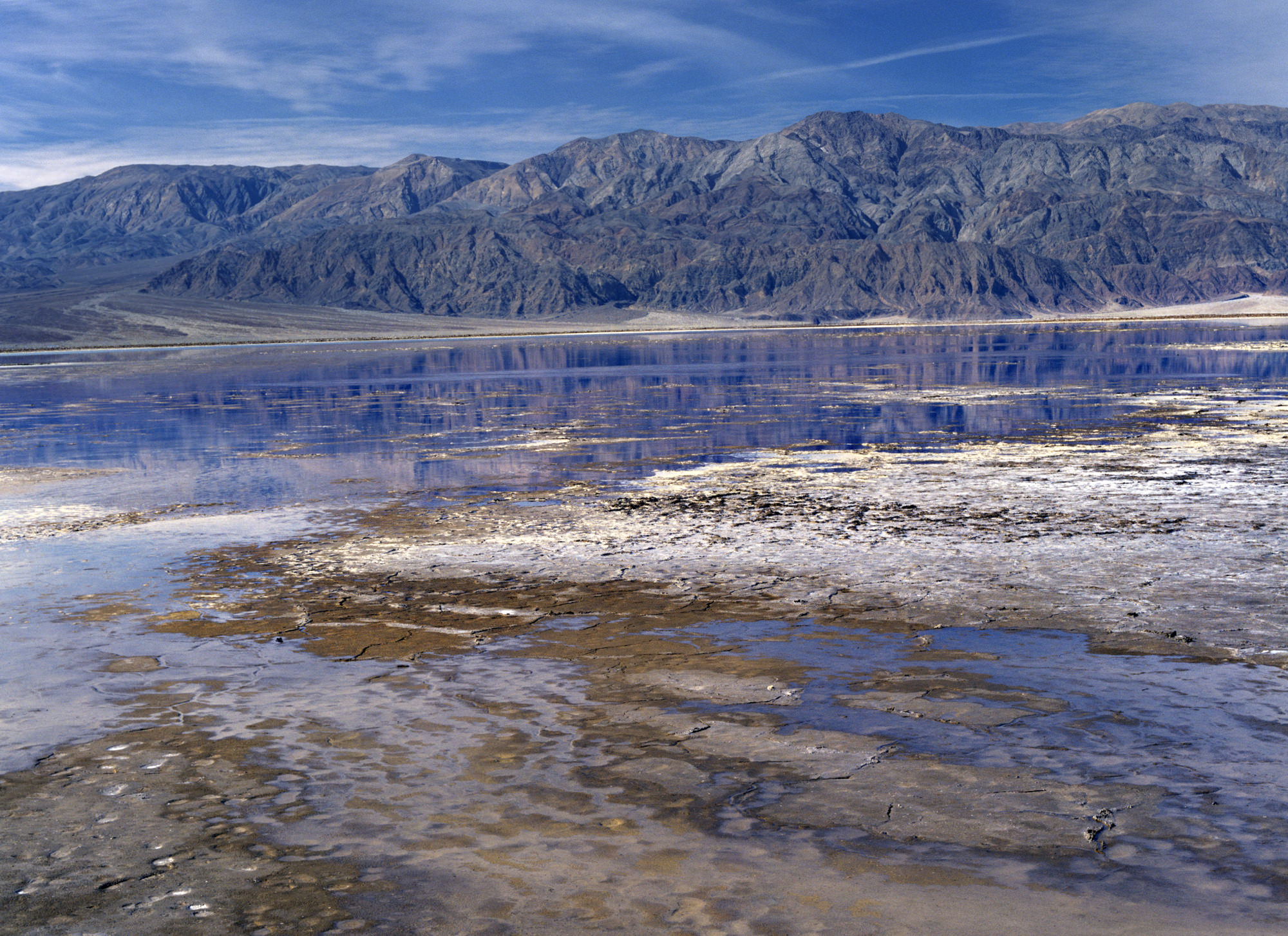 The water-logged playa near Badwater shot in the winter. A rare sight.