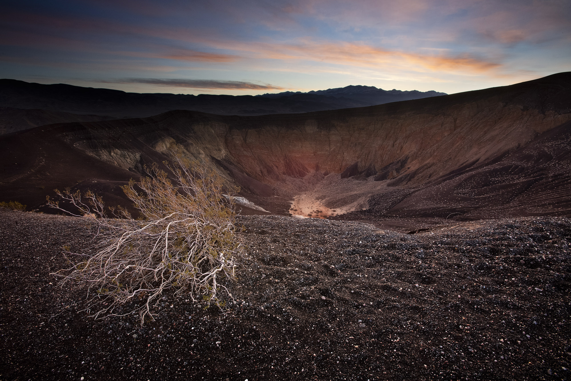 Ubehebe Crater at sunrise, shot not far from the parking lot. How easy was that?