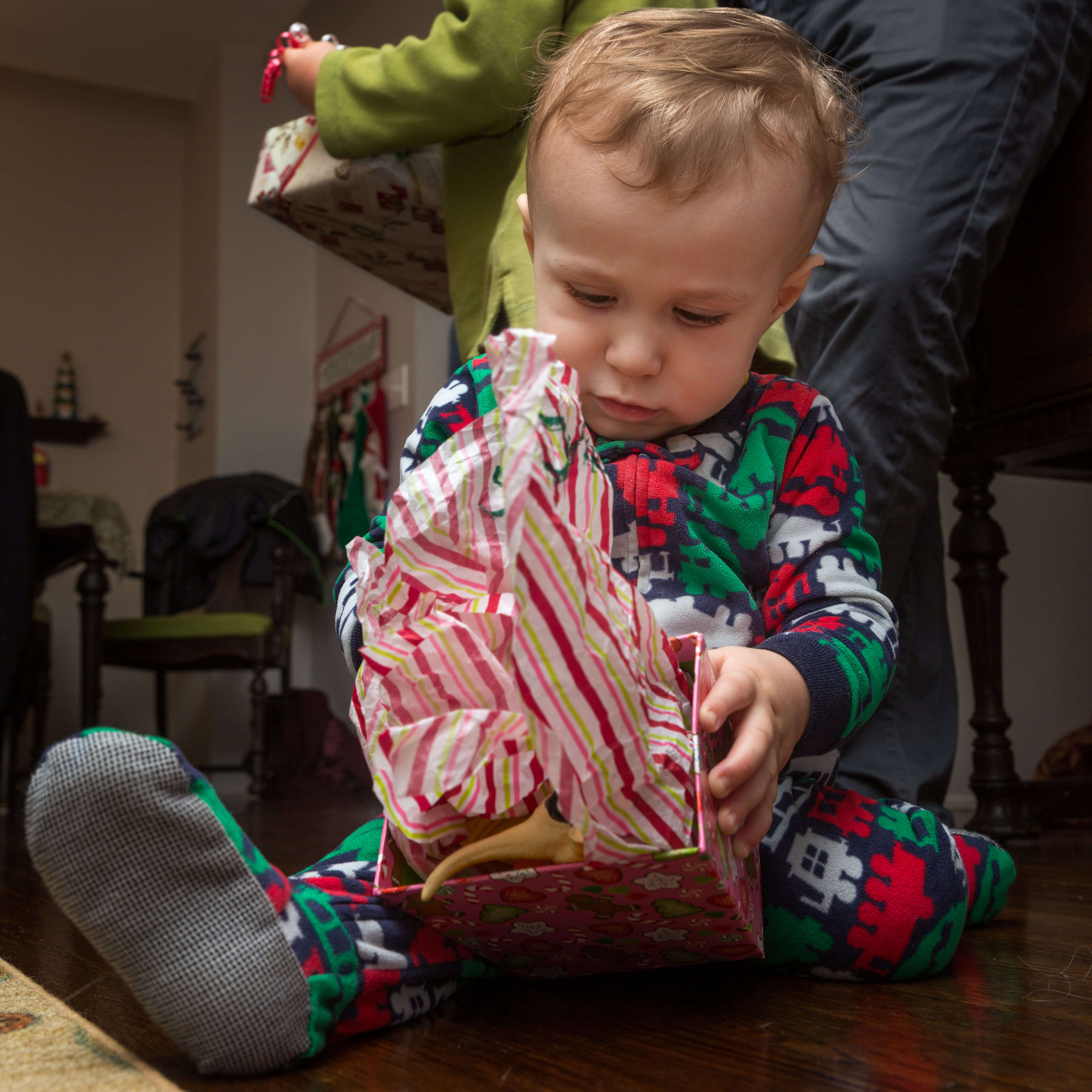 Christmas from a child's perspective. With the camera resting on the floor, the autofocus nailed it.