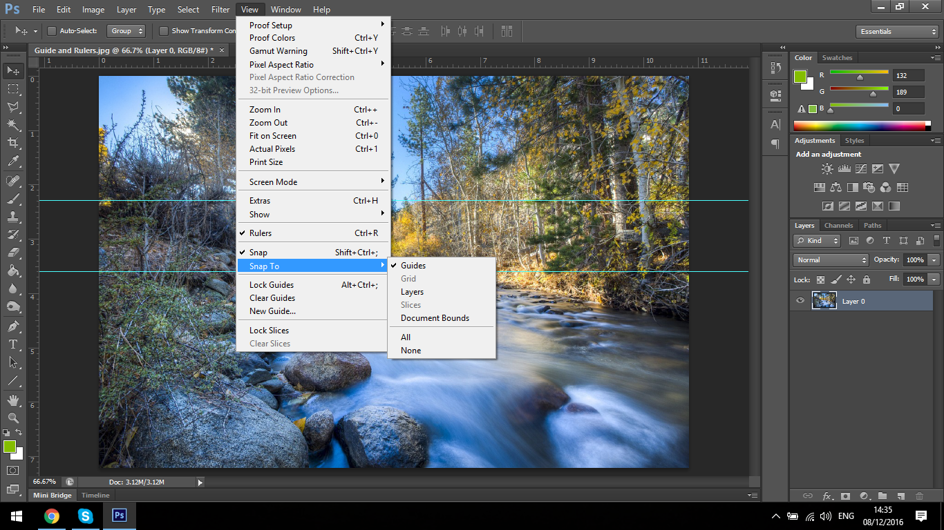 how to make ruler lines appear in photoshop keyboard shortcut