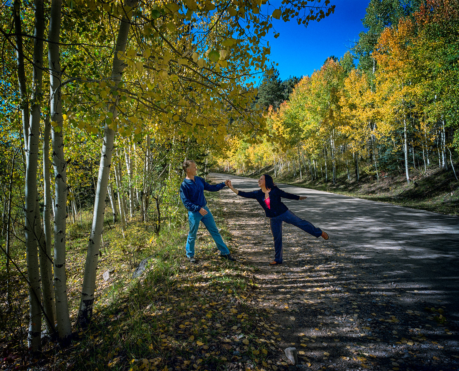 Santa Barbara Canyon, New Mexico. The best romantic selfies are those that look entirely spontaneous, such as this moment among the autumn foliage.