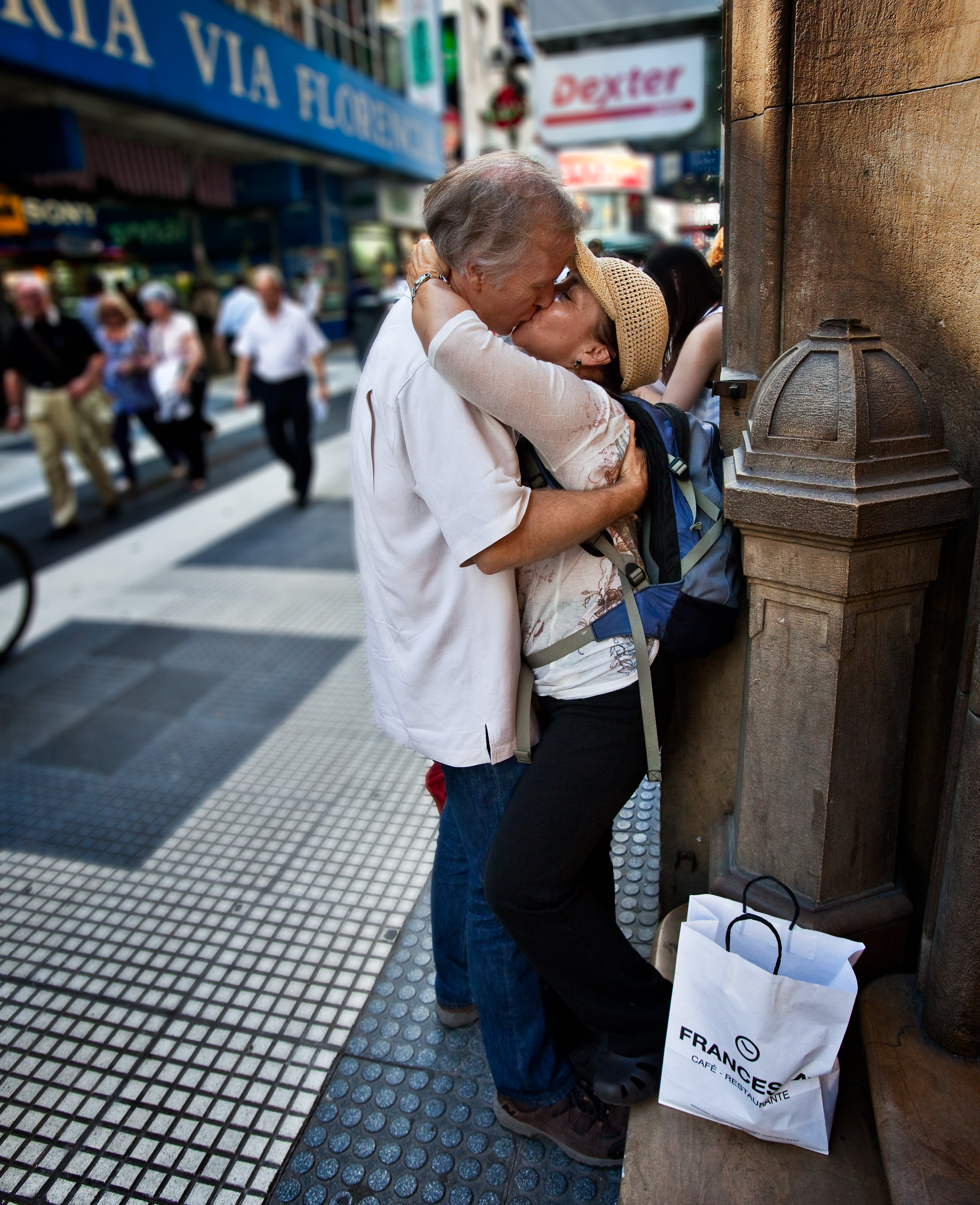 Calle Florida, Buenos Aires, Argentina. Sometimes you just have to lock lips and forget about the crowds around you.
