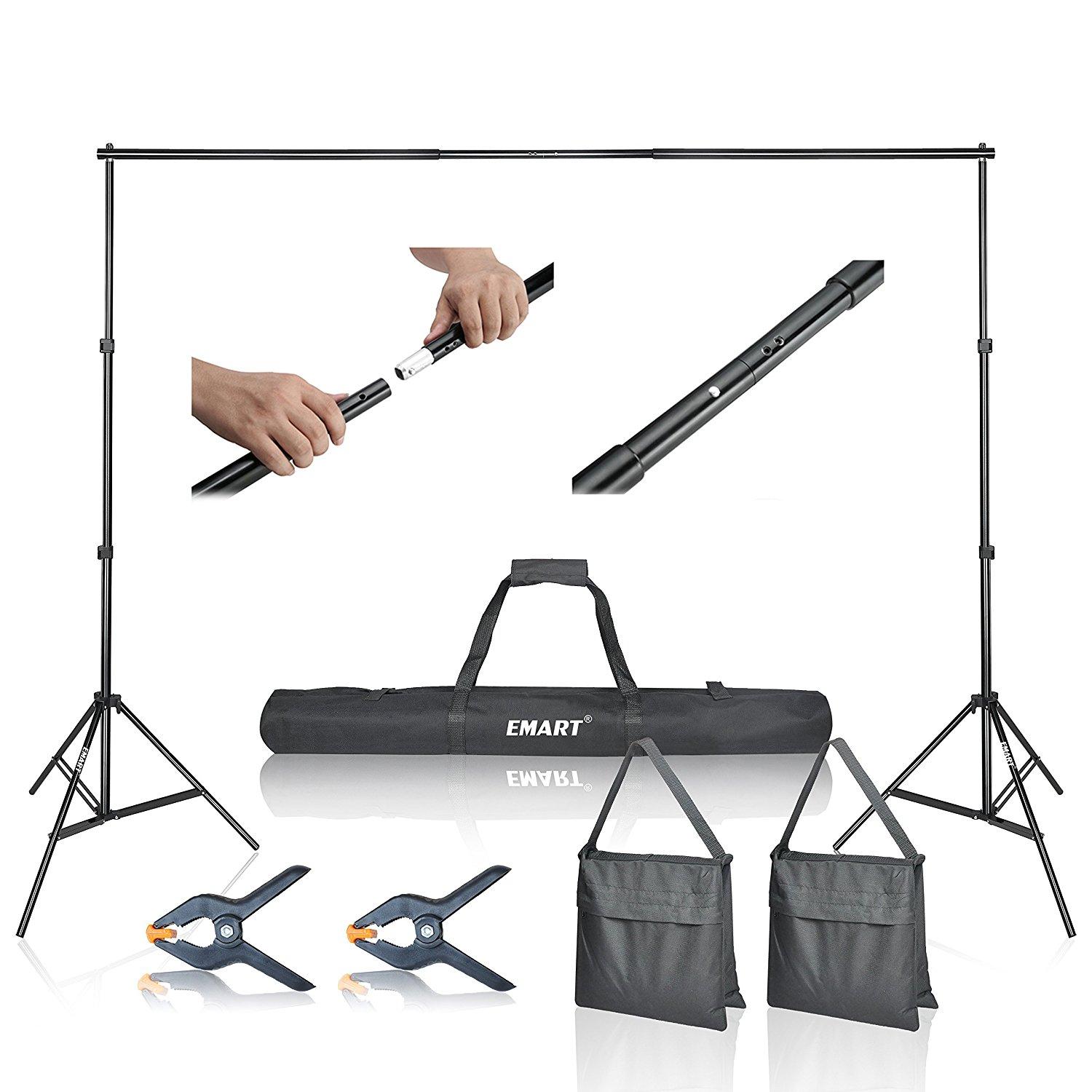 Emart Photo Video Studio 10Ft Adjustable Background Stand Backdrop Support System Kit