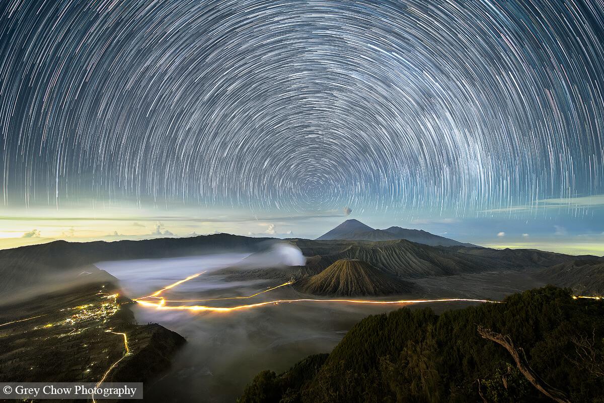 Mount Bromo Star Trails