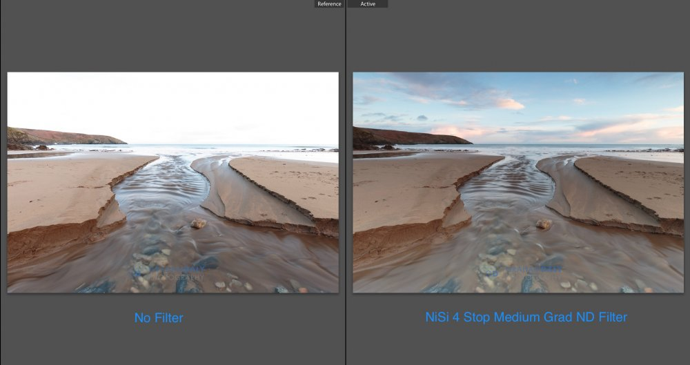 Photo camparison with and without graduated nd filter