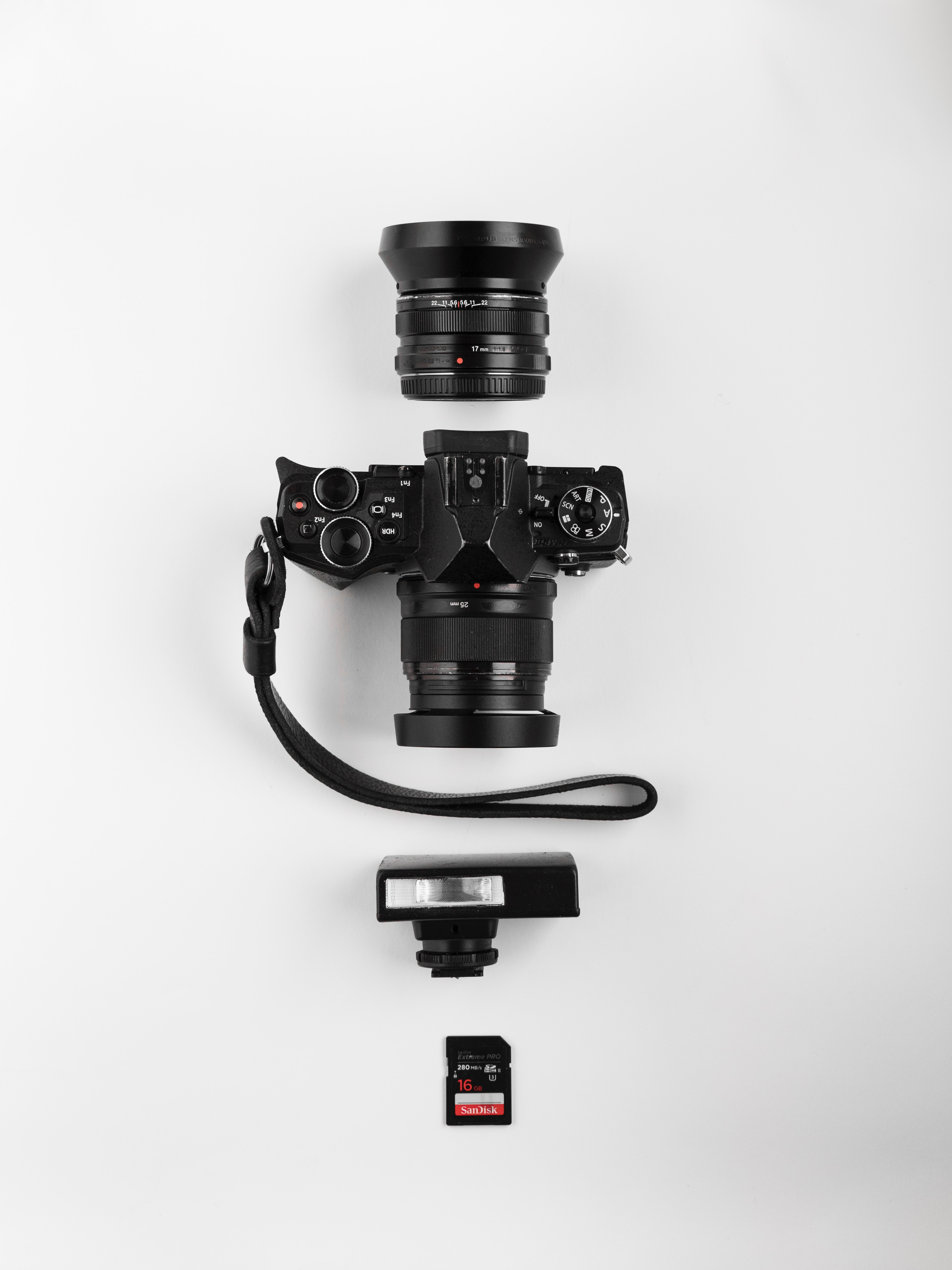 photography equipment flatlay