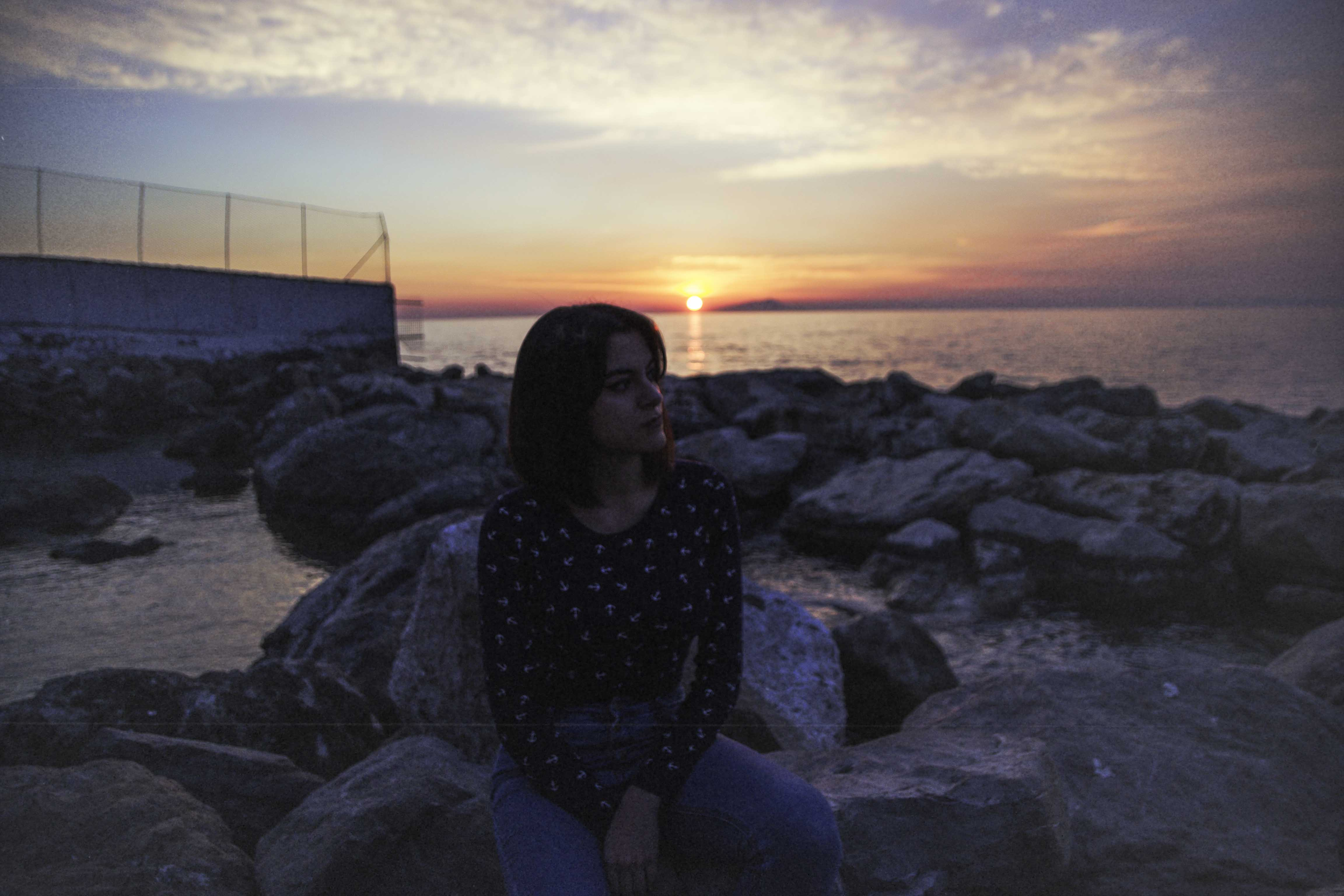 film photo girl during sunset