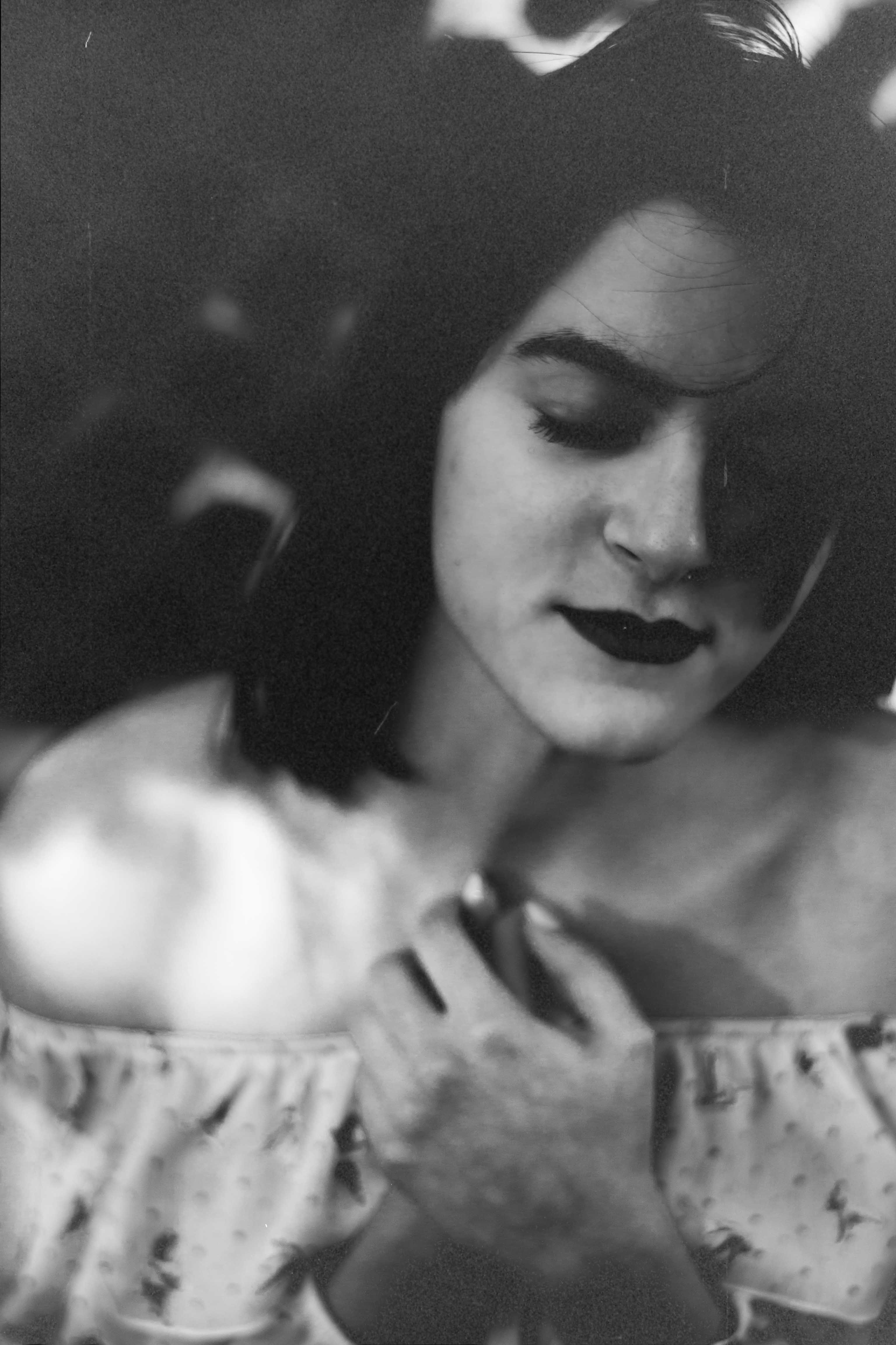 film photo b&w girl with closed eyes