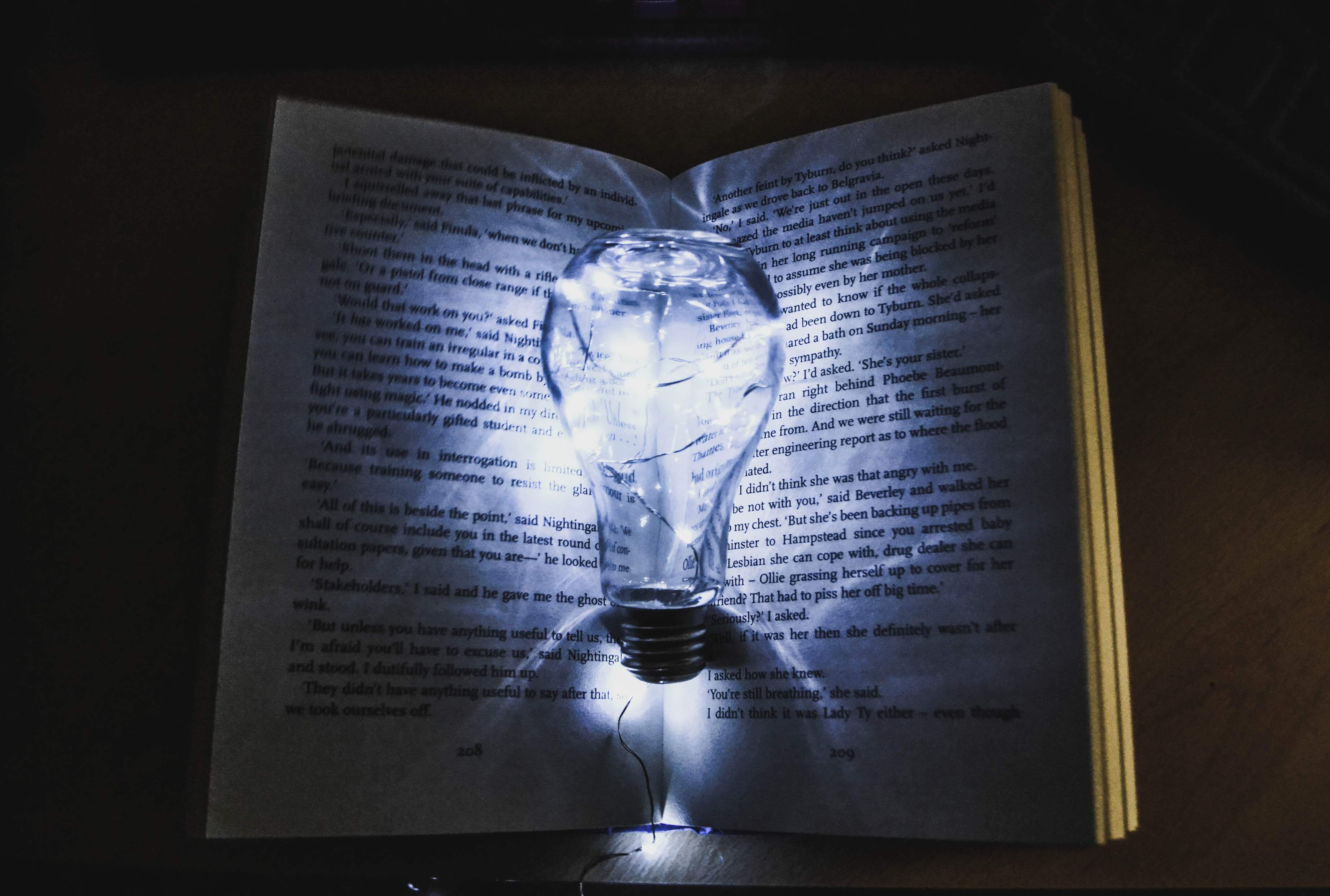 light bulb on a book