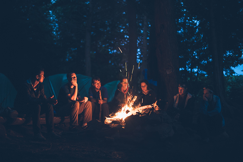 camping trip campfire friends