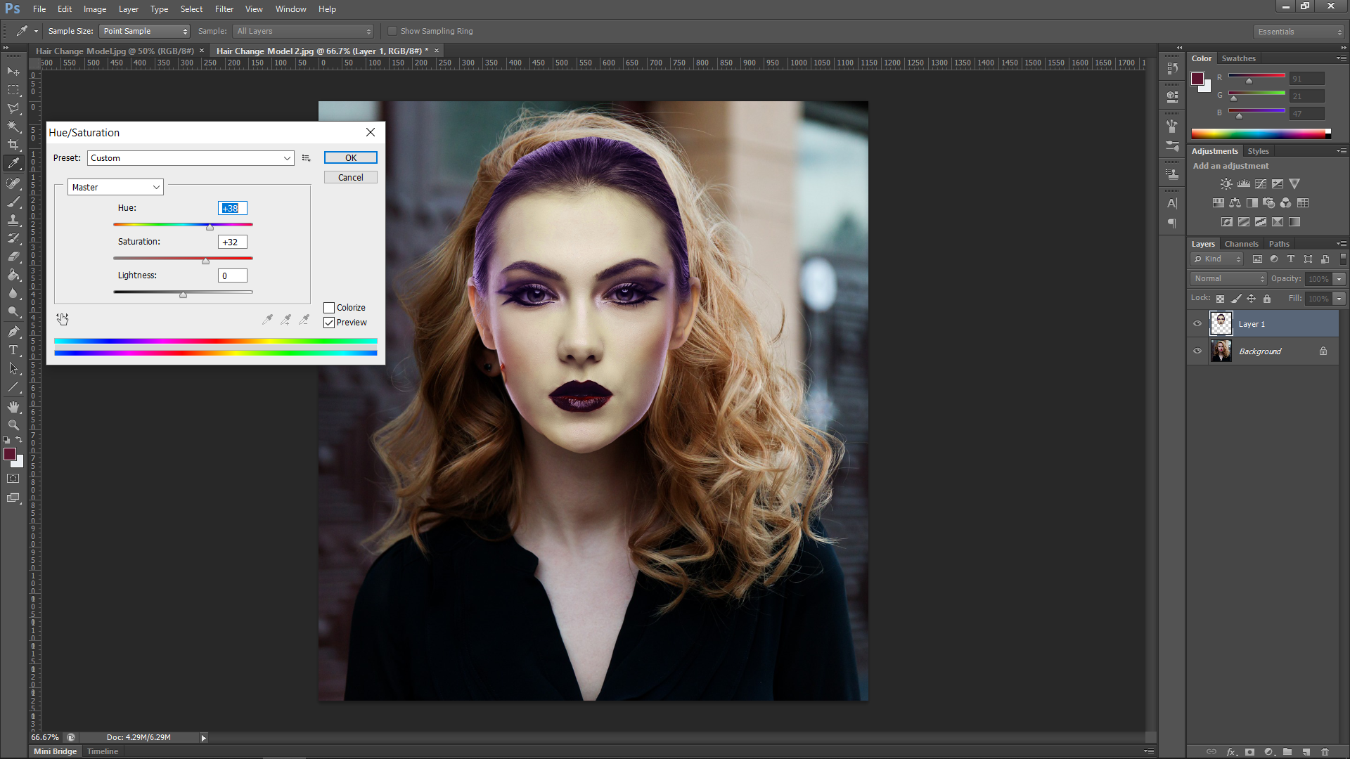 Photoshop Model Hair