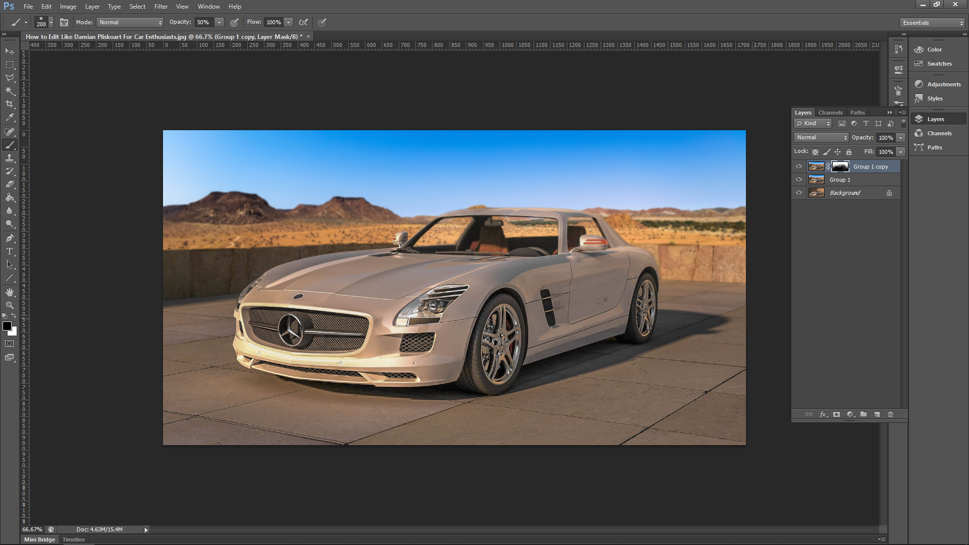 Editing a car background in photoshop