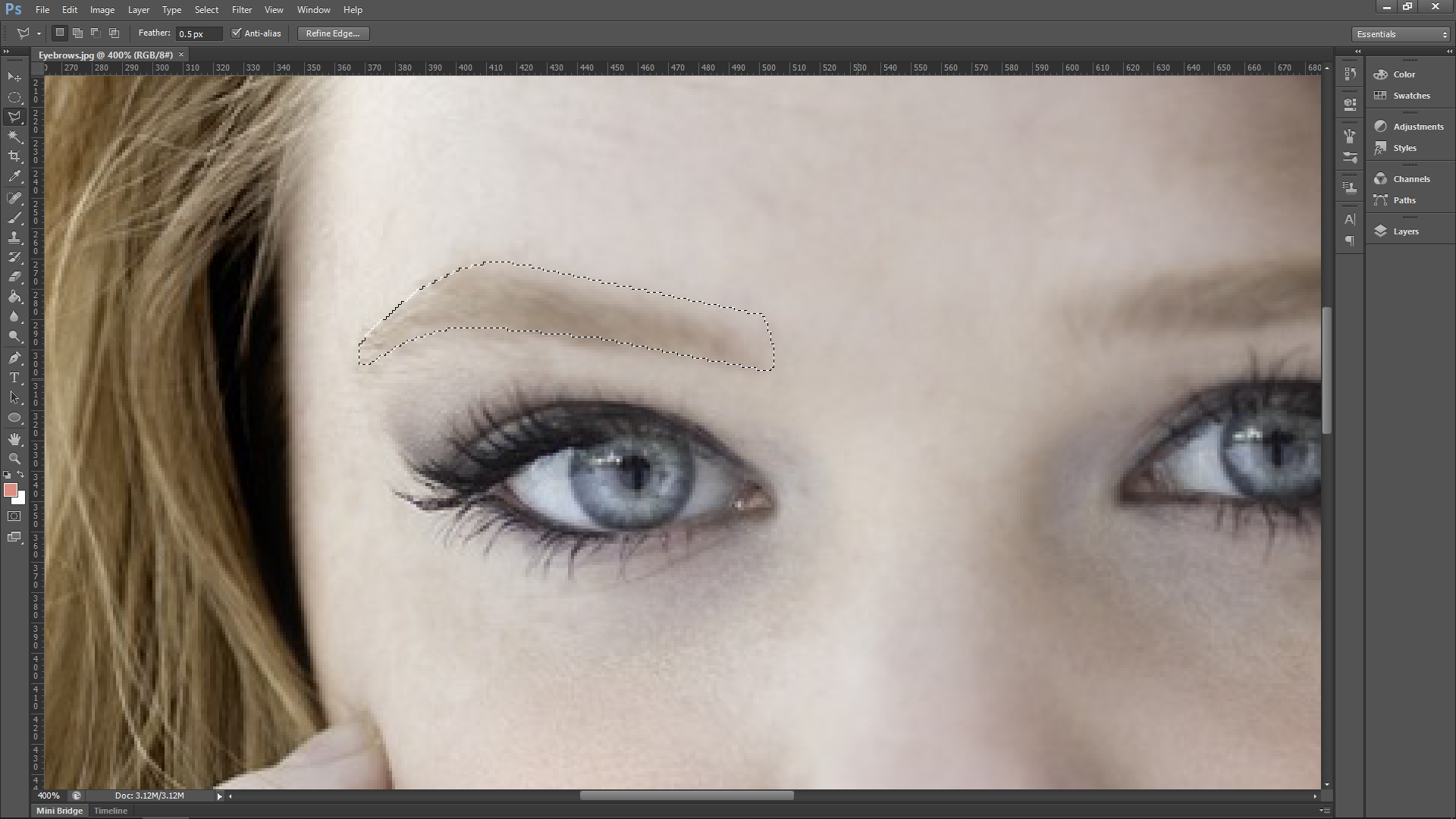 Eyebrow fill in Photoshop
