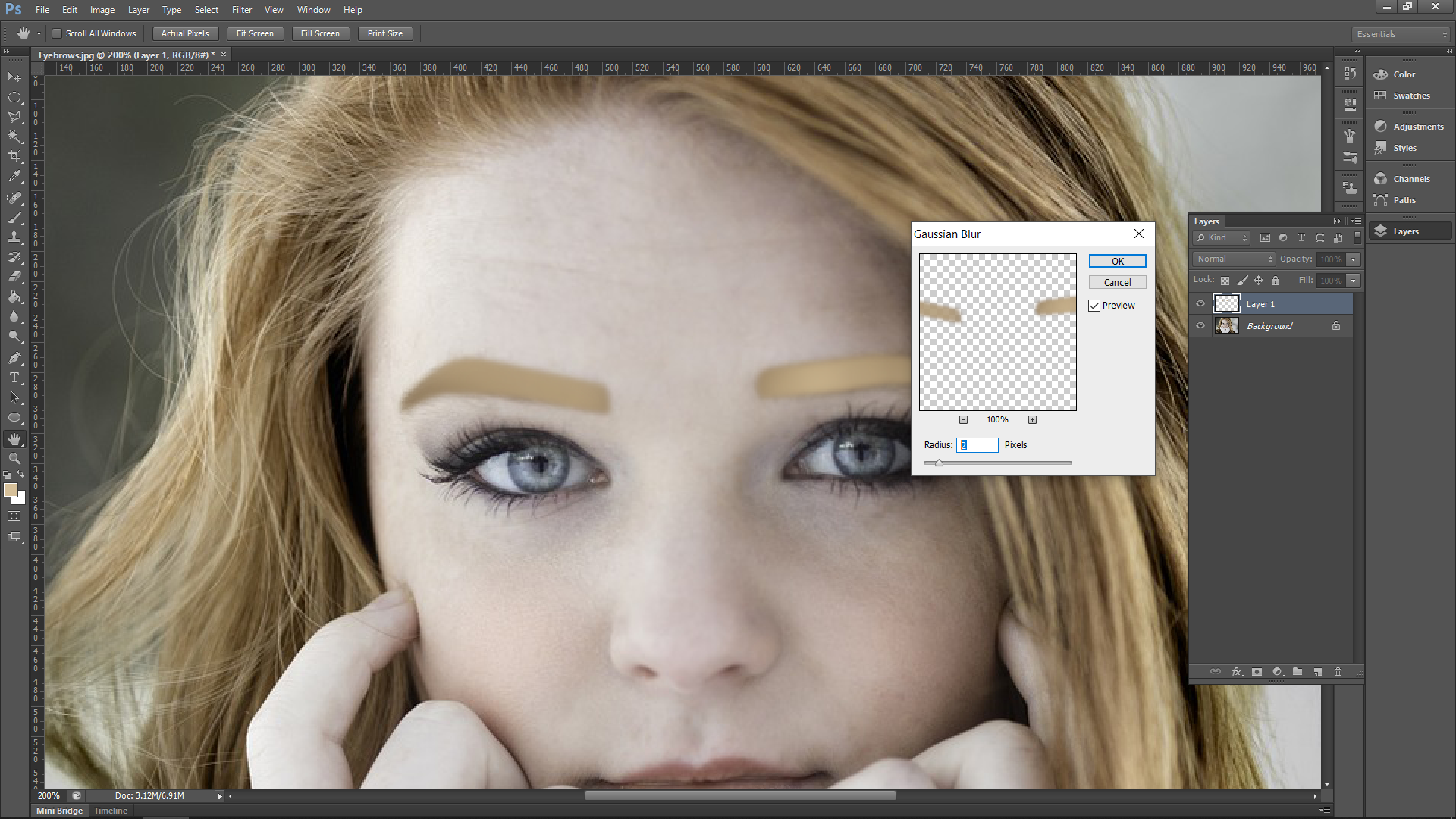 Photoshopping Eyebrows