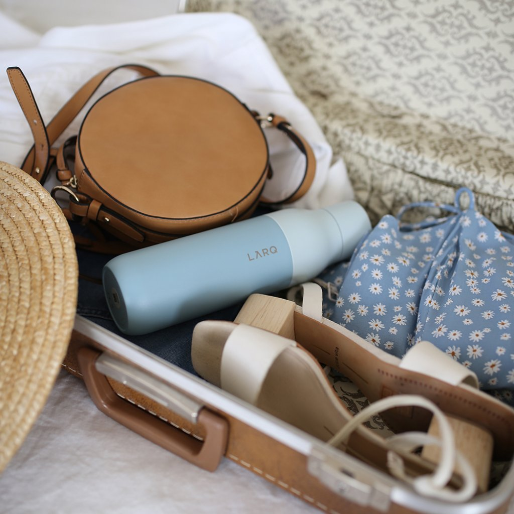 closeup of items in a suitcase