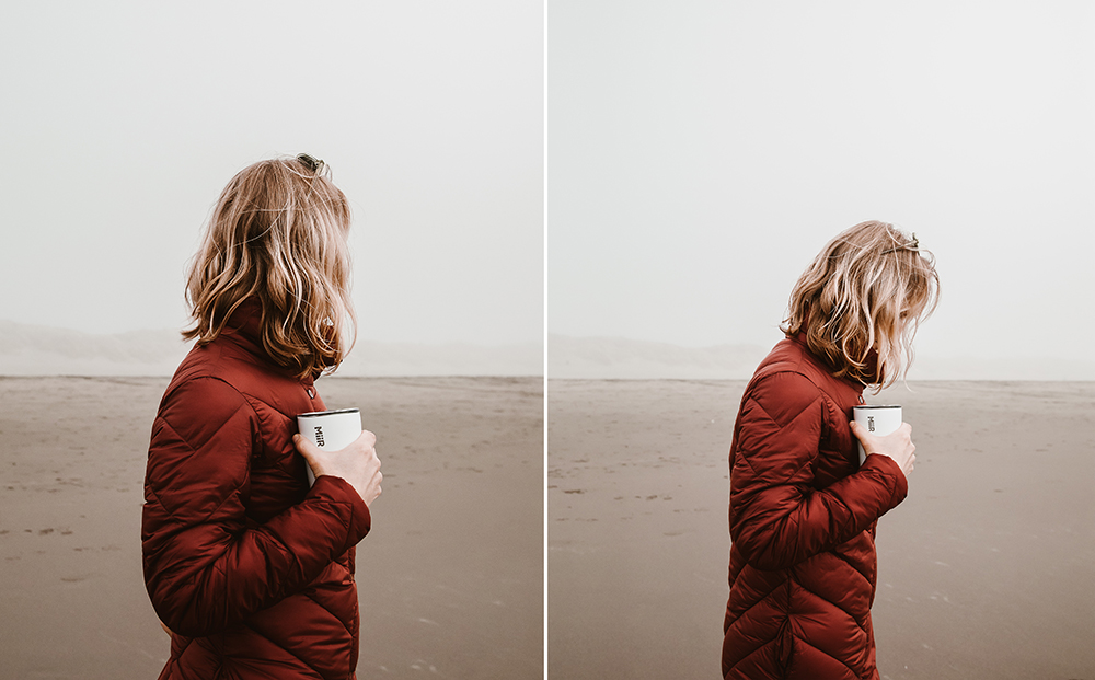 diptych of girl holding mug