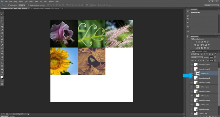 How to create a 3x3 square collage step by step in Photoshop