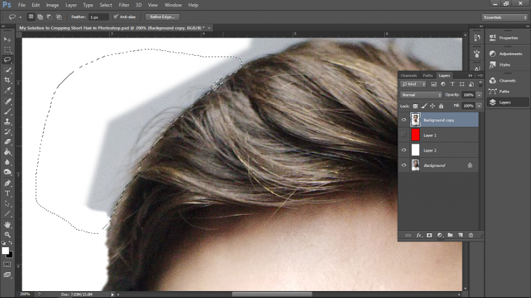 My Solution To Cropping Short Hair In Adobe Photoshop