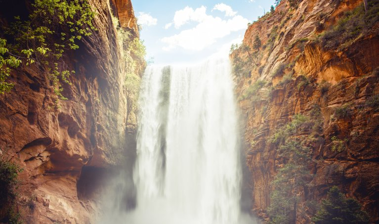 Create a Waterfall Between Two Rock Faces Composite in Photoshop